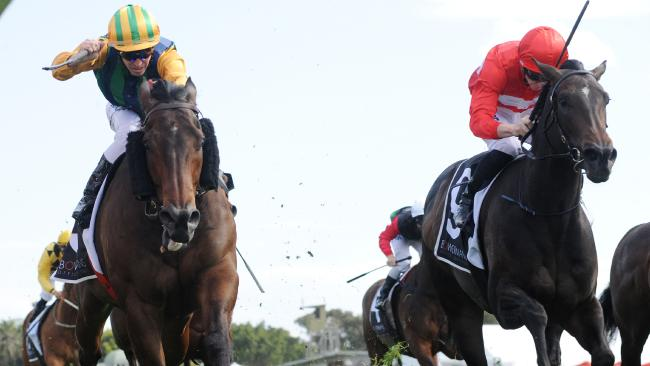 Jockey Glyn Schofield rides Ball of Muscle to victory in The Shorts at Royal Randwick on Saturday. Picture: Simon Bullard/AAP