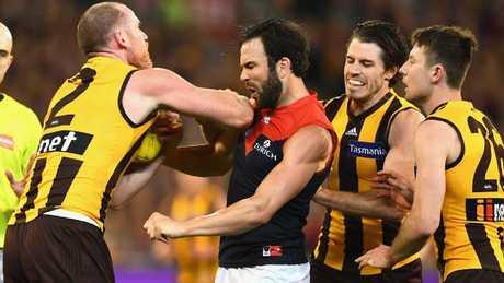 Jarryd Roughead pushes Jordan Lewis. Picture: Getty Images