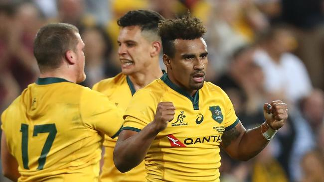 Will Genia celebrates the Wallabies' win over South Africa last weekend. Picture: Getty