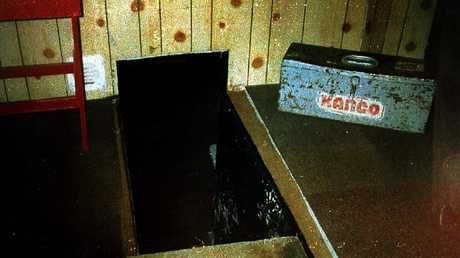 The trapdoor to the cellar — where the police found evidence of torture — at 25 Cromwell Street. Picture: Mirrorpix/Australscope