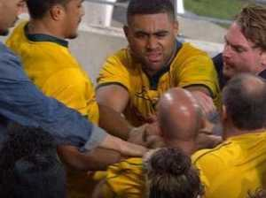 Wallabies star's sister caught in ugly fan incident