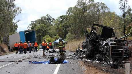 Double fatal truck crash on Kennedy Highway near Davies Creek. PICTURE: STEWART MCLEAN