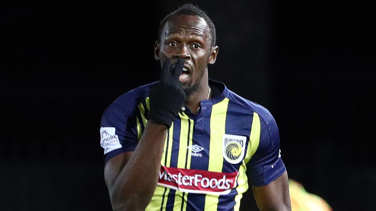 Olympic sprinter Usain Bolt in action for Central Coast Mariners.