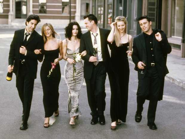David Schwimmer as Ross Geller, Jennifer Aniston as Rachel Green, Courteney Cox as Monica Geller, Matthew Perry as Chandler Bing, Lisa Kudrow as Phoebe Buffay, Matt LeBlanc as Joey Tribbiani. Picture: NBC/NBCU Photo Bank via Getty