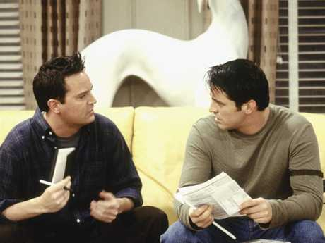 Matthew Perry as Chandler Bing with Matt LeBlanc as Joey Tribbiani. Picture: NBC/NBCU Photo Bank via Getty