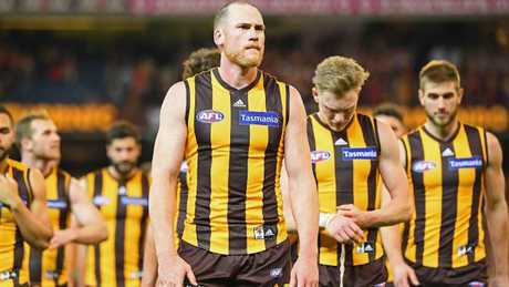 Jarryd Roughead leads the Hawks off the ground. Picture: Getty Images