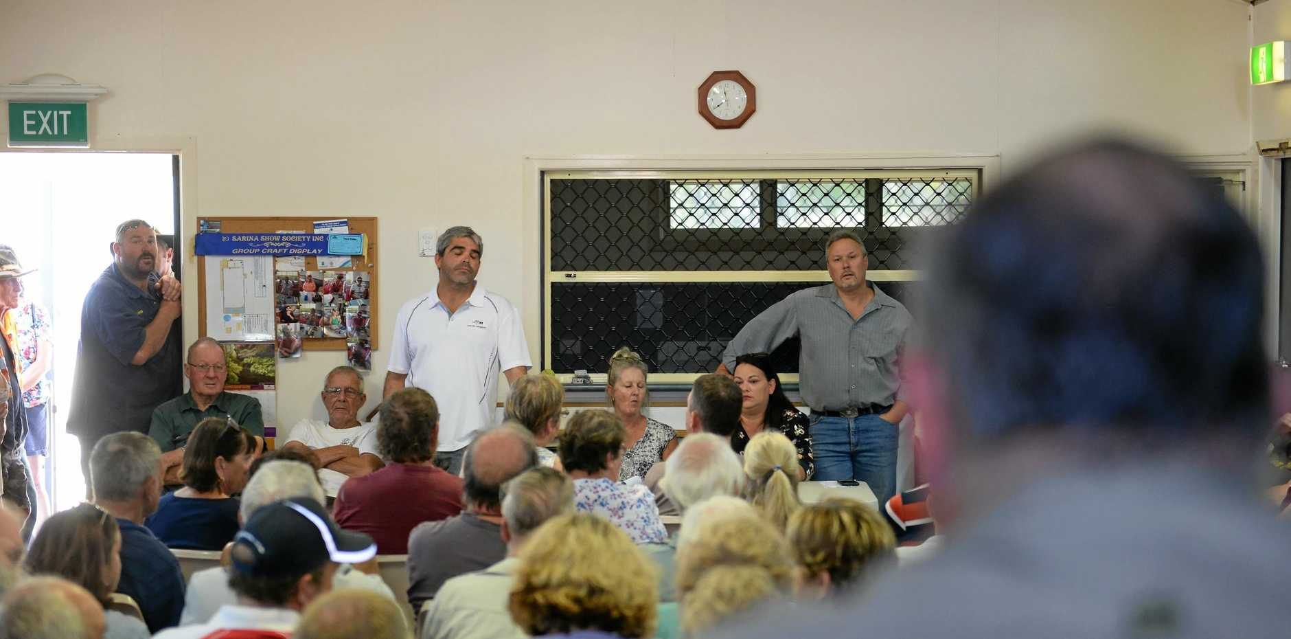 Stephen Andrew and Justin Peel addressing residents at a community meeting in Ilbilbie, held to discuss the ramifications of the Isaac Regional Council's new planning scheme.