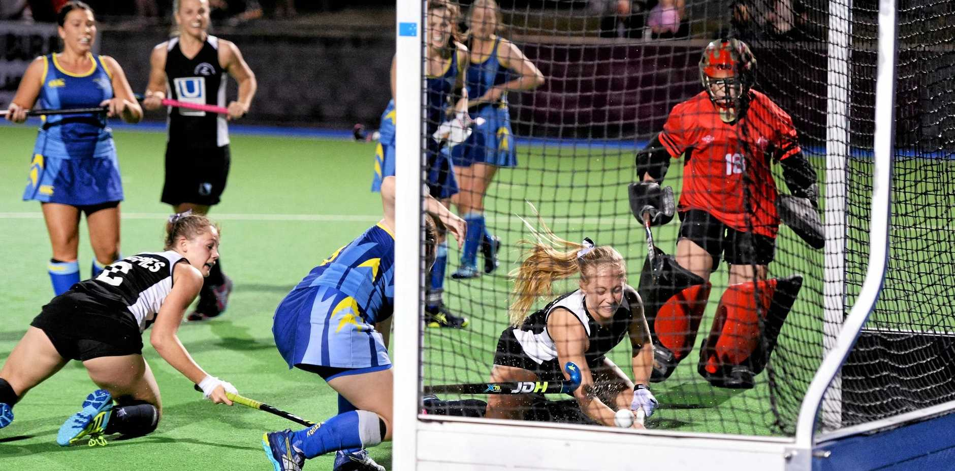 THE WINNING MOMENT: Wests co-captain Eden Jackat ends up in the net after launching herself to score what turned out to be the winning grand final goal.