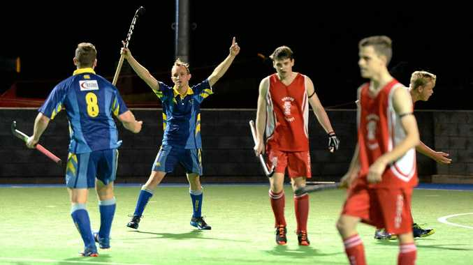 VICTORY SALUTE: Hancocks player Ryan Smith enjoys scoring his team's first goal on their way to a 4-2 A-Grade grand final win over Norths on Saturday night.