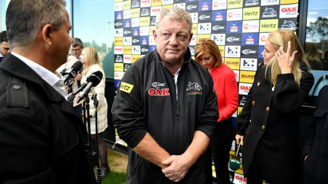Penrith Panthers general manager Phil Gould leaves a press conference in Sydney, Tuesday, August 7, 2018. Gould said Penrith have received a dozen job applications, including some from rival NRL head coaches, since their decision to sack Anthony Griffin. (AAP Image/Joel Carrett) NO ARCHIVING