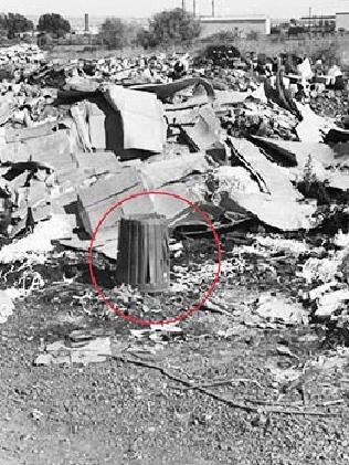 Bin (circled) where Lina's body was wrapped in a curtain.