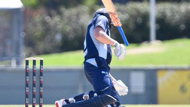 Cameron White crumpled to the ground after being hit with a Billy Stanlake beamer.