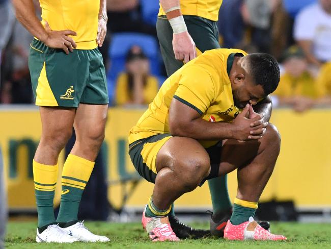 Devastated Wallabies after the loss. Picture: AAP