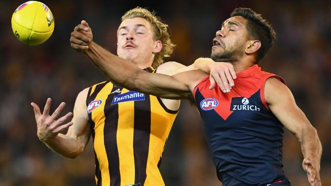 Neville jetta did a number on the Hawks' smalls and he'll have to be at his best to quell the likes of Willie Rioli and Liam Ryan. Picture: Getty Images