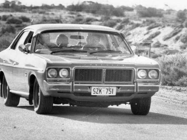 James Miller in the back of a police car leaving the crime scene at Port Gawler in 1979.
