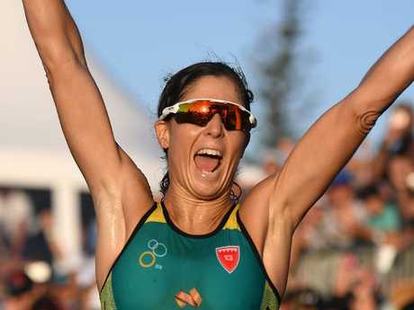 Australia's Ashleigh Gentle celebrates her defining win on Saturday.