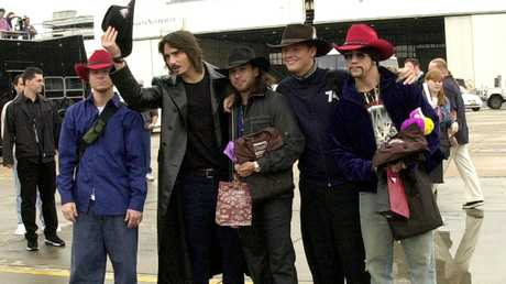 The Backstreet Boys arrive at Sydney Airport in 2000. Picture: Jamie Fawcett