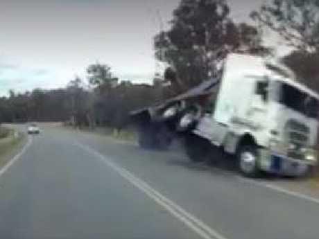 Moments before the truck had rolled over. Picture: Facebook.