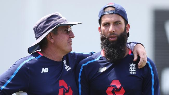 Moeen Ali with coach Trevor Bayliss. Picture: Brett Costello