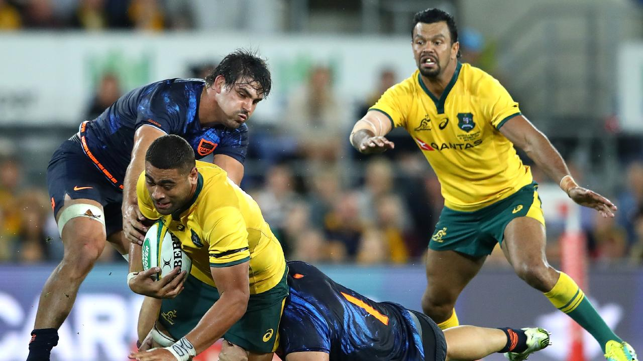 Lukhan Tui of the Wallabies is tackled during The Rugby Championship match between the Australian Wallabies and Argentina Pumas at Cbus Super Stadium on September 15, 2018 in Gold Coast, Australia. (Photo by Cameron Spencer/Getty Images)