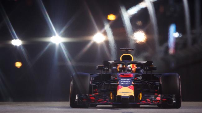 Daniel Ricciardo powers around the Marina Bay street circuit in Singapore. Picture: Getty Images