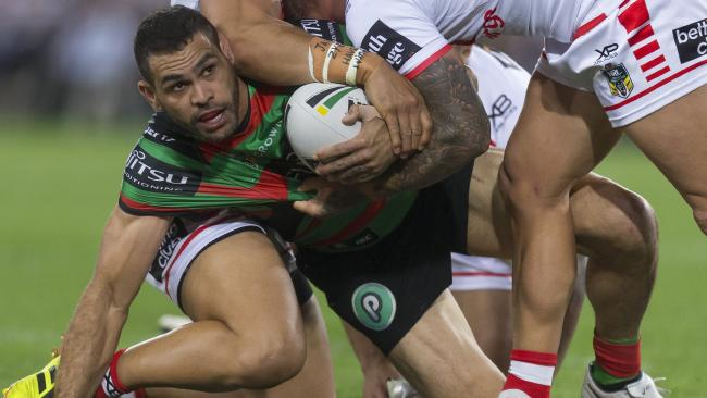 Greg Inglis of the Rabbitohs is tackled during the Second Semi Final between the South Sydney Rabbitohs and the St George-Illawarra Dragons in Week 2 of the NRL Finals Series at ANZ Stadium in Sydney, Saturday, September 15, 2018. (AAP Image/Craig Golding) NO ARCHIVING, EDITORIAL USE ONLY