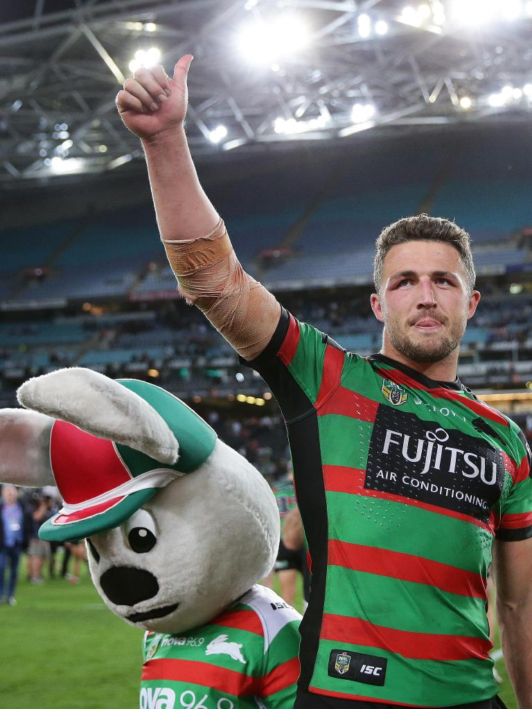 Sam Burgess celebrates victory with the crowd after South's defeated St George in the NRL semi-final. Picture: Brett Costello