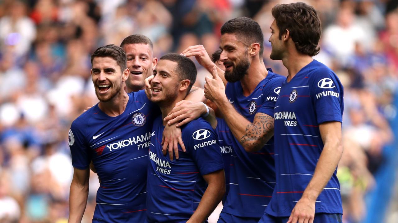 Eden Hazard of Chelsea celebrates with teammates