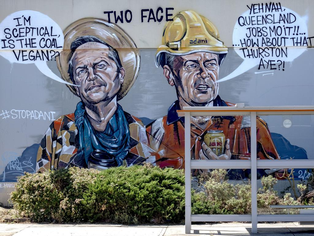 A mural of Bill Shorten in the Melbourne suburb of Preston before the Batman by-election last March. Picture: AAP/Luis Enrique Ascui
