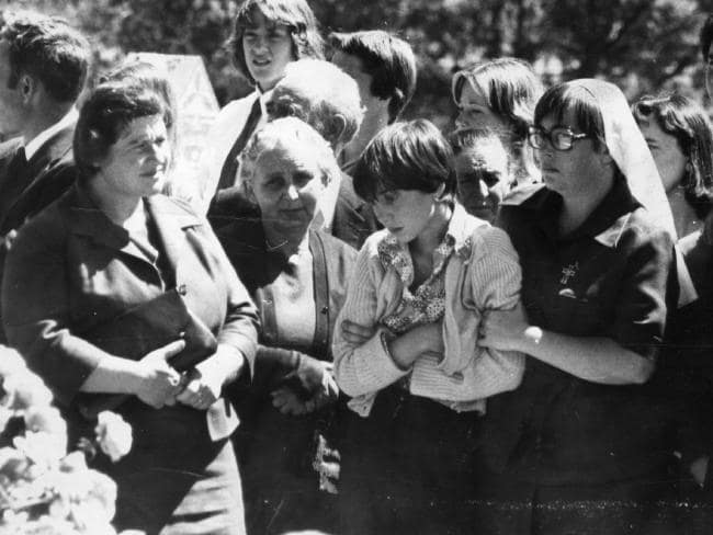 Teresa Kellett at her murdered sister Lina Marciano's funeral in 1978.