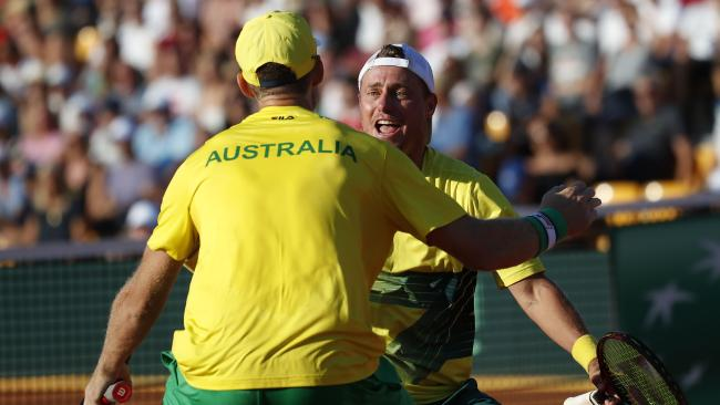 Australia's Lleyton Hewitt (rear) wears the green and gold for 80th time. Picture: APF