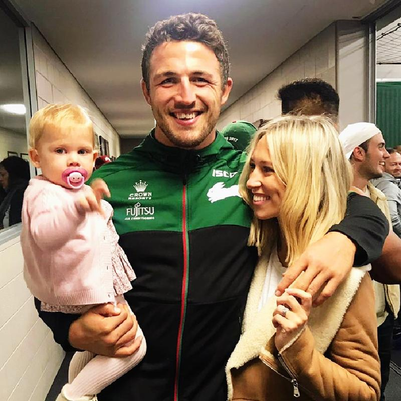 Sam Burgess with wife Phoebe and daughter. Picture: Instagram