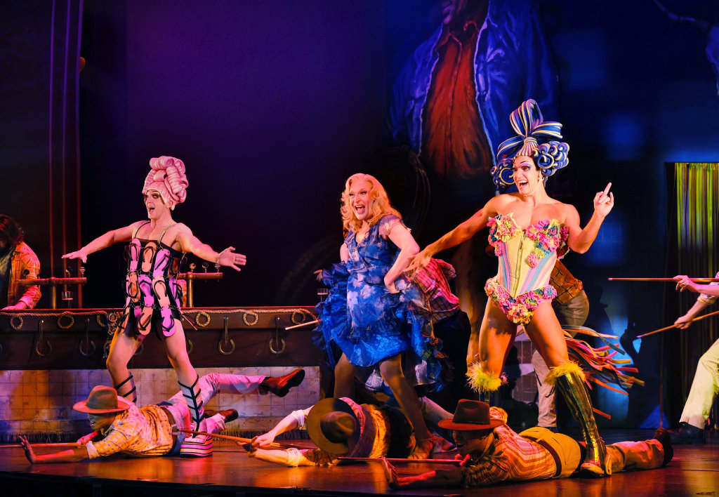 David Harris (Mitzi), Tony Sheldon (Bernadette) and Euan Doidge (Felicia) in a scene from Priscilla Queen of the Desert The Musical. Supplied by QPAC.