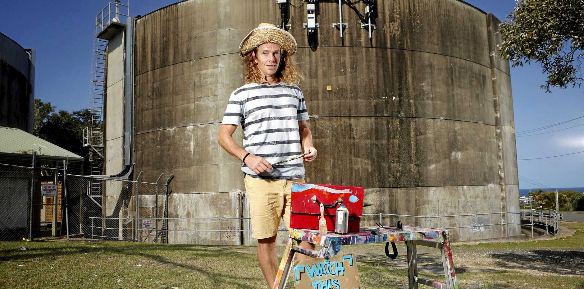 Local artist Glenn Case believes Kingscliff's water tower could be brought to life by the same mural art that has transformed grain silos across Australia into visual masterpieces.