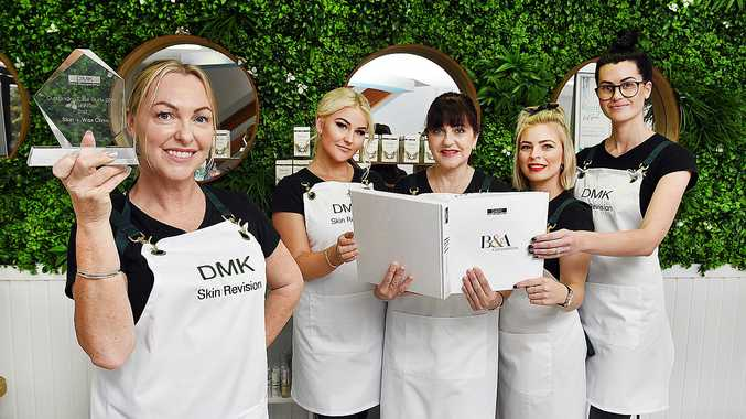 Skin + Wax Clinic, Bideford St, Torquay - (L) owner Tammy Wakely with staff members Louise Cook, Joanne Hayward, Ashlee Hunjas and Macy Howarth and their award.