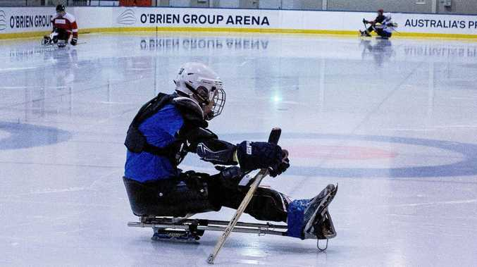 ICEMAN: Xavier Player shows the way on the sled with the Melbourne Sentinels.