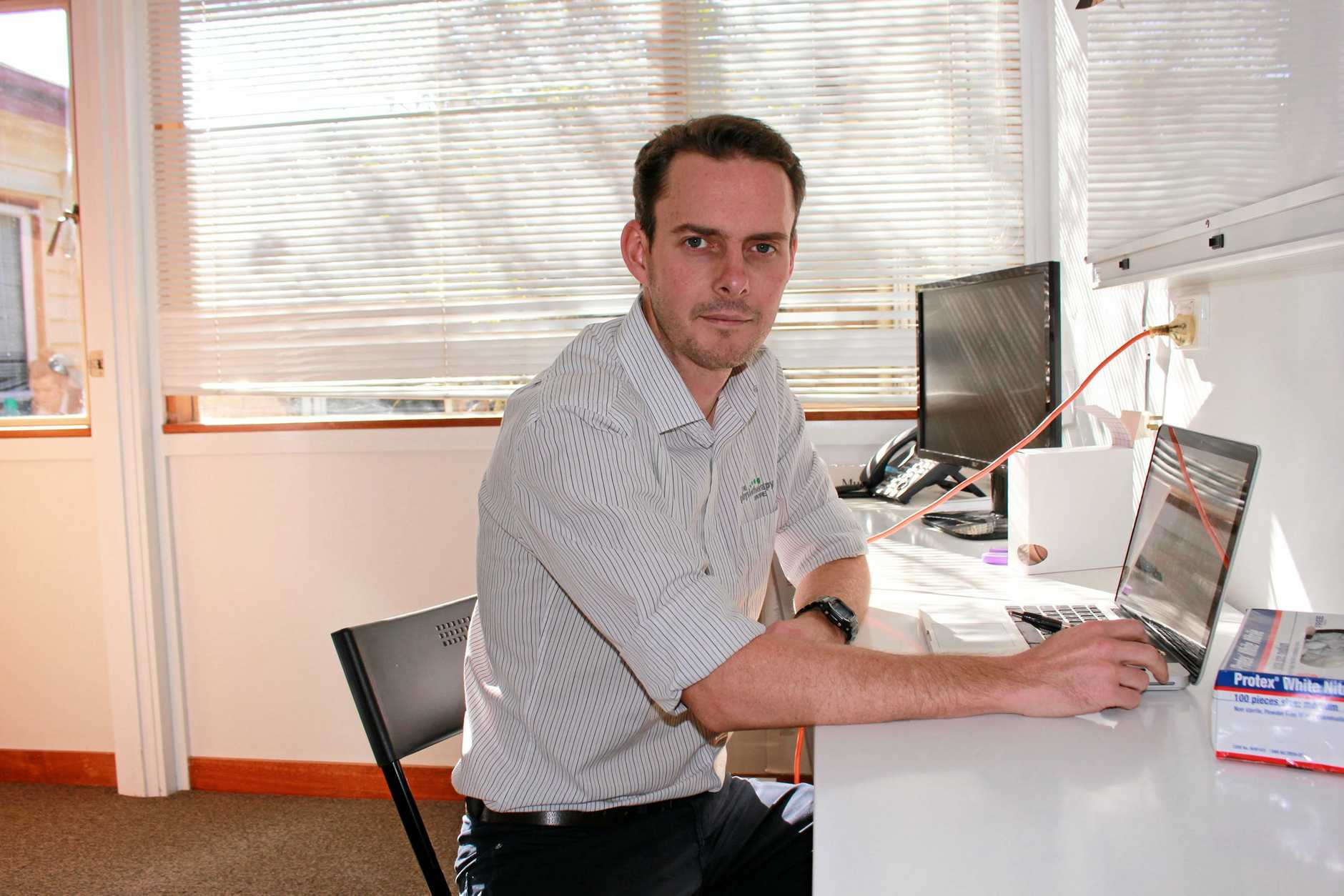 The Physiotherapy Centre owner and principal physiotherapist Josh Hay is frustrated by his struggle to attract tertiary-educated professionals to work and settle in Warwick.