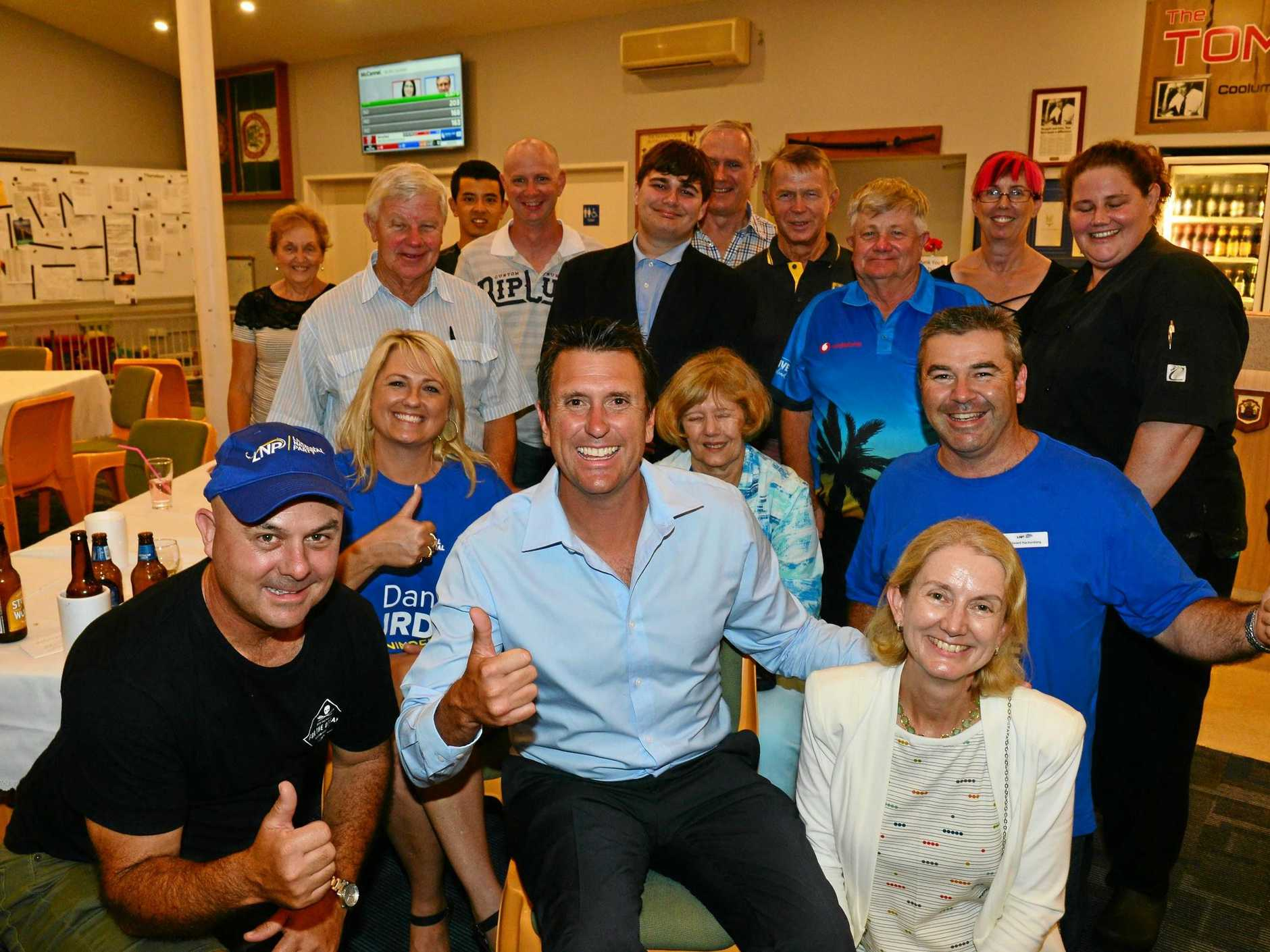 Dan Purdie, LNP for Ninderry with some of his supporters at Peregian-Coolum RSL after his election win.