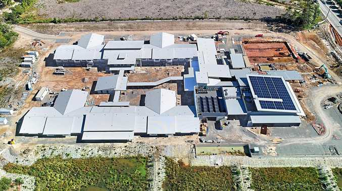 An aerial view shows construction progress of new aged care and community facilities at Churches of Christ Queensland's Little Mountain property.