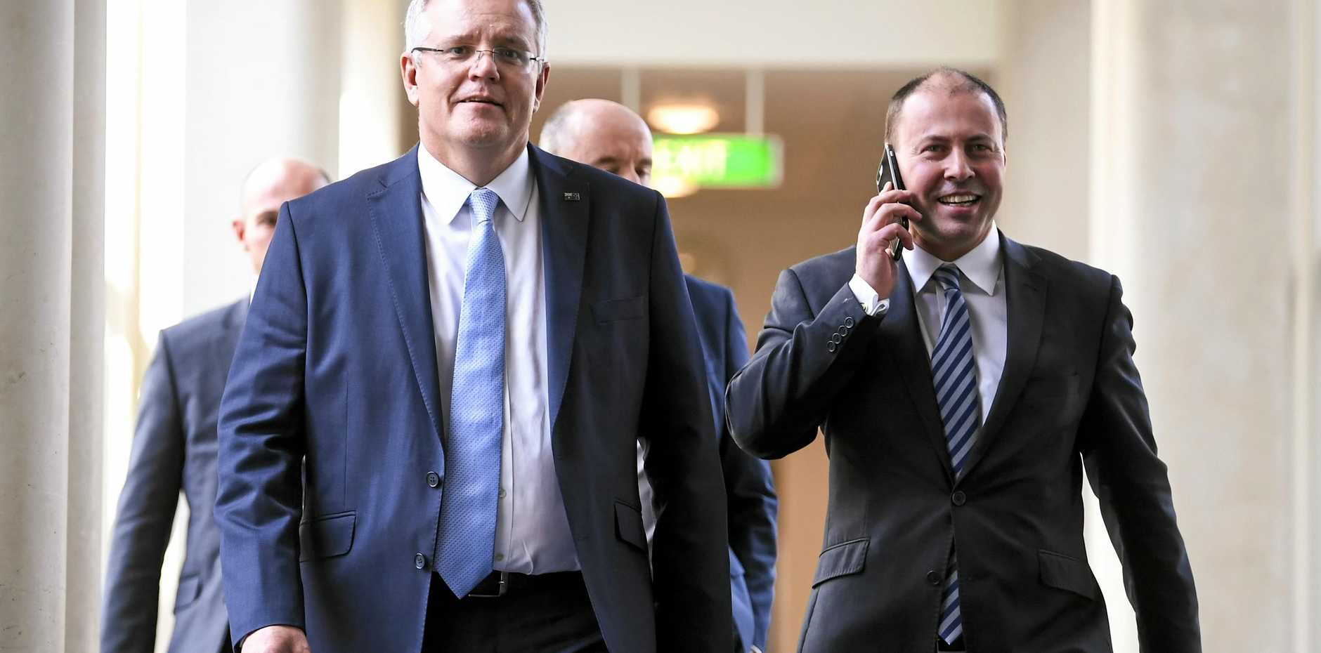 Prime Minister Scott Morrison and Deputy leader of the Liberal party Josh Frydenberg.