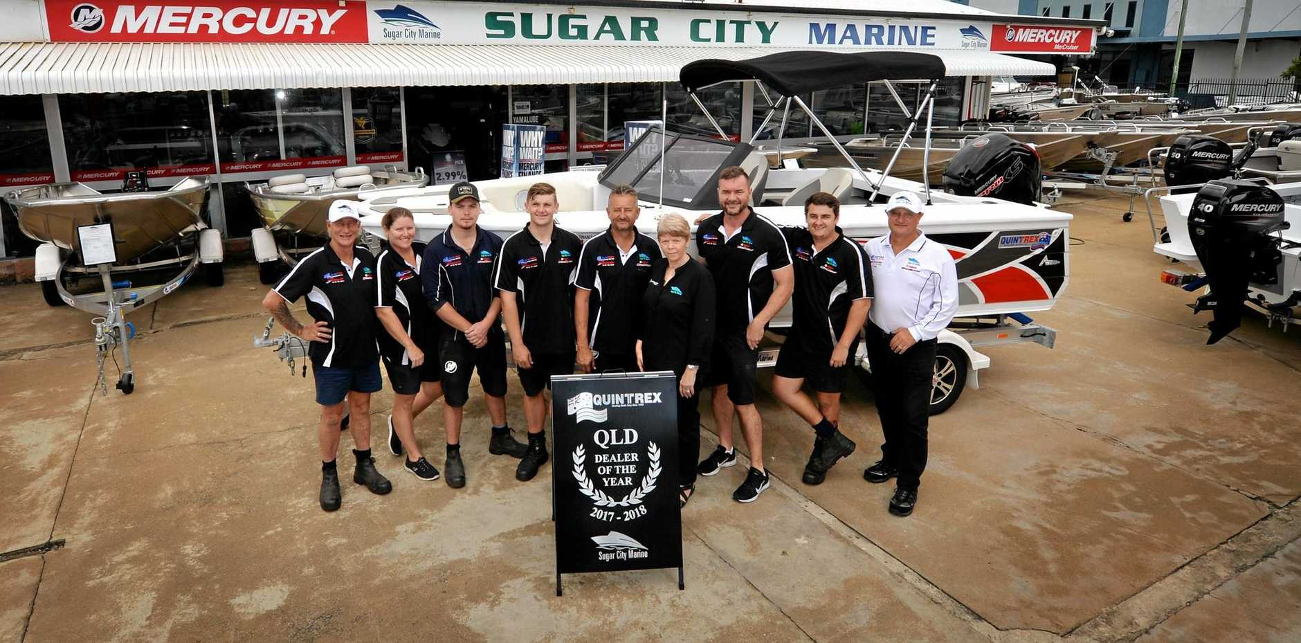 LEADING THE WAY: The team at Sugar City Marine in Victoria St is thrilled the business has been named the Quintrex Queensland Dealer of the Year.