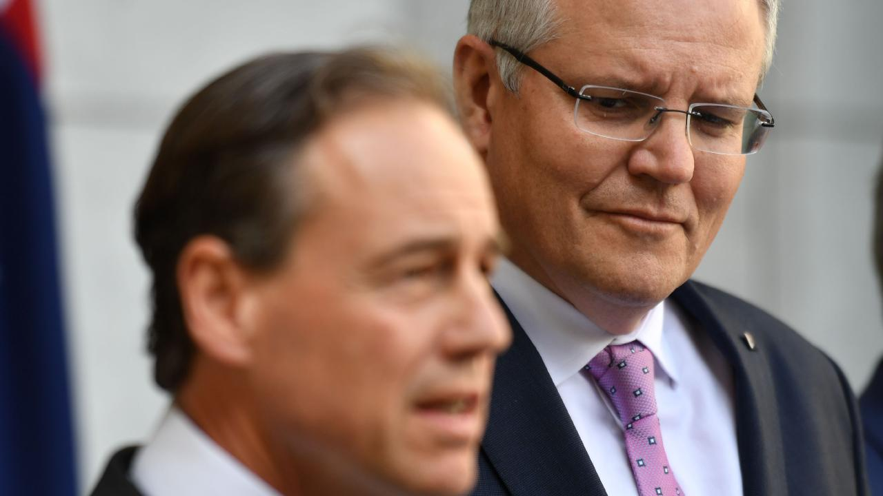 Health Minister Greg Hunt (foreground) with Prime Minister Scott Morrison. Picture: Mick Tsikas/AAP