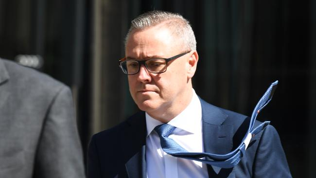 AMP wealth solutions and customer group executive Paul Sainsbury leaves after giving evidence at the banking royal commission on Monday, September 17. Picture: James Ross/AAP