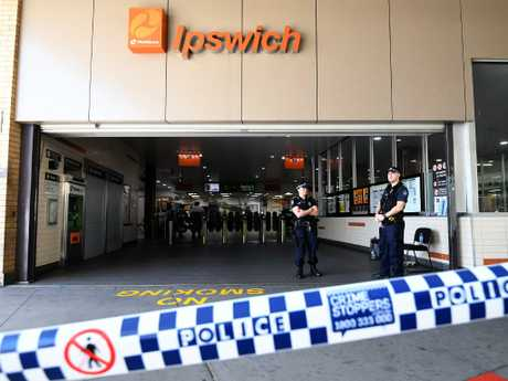 Ipswich train station was still cordoned off yesterday. Picture: Dan Peled/AAP