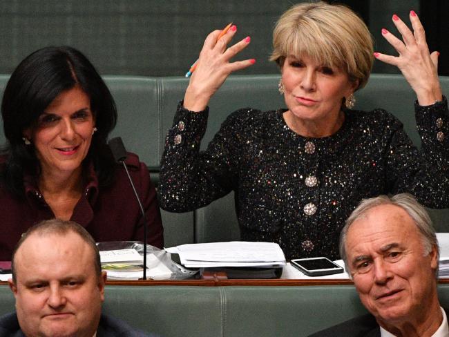 Liberal member for Chisholm Julia Banks and former Liberal deputy leader Julie Bishop in Question Time last week. Picture: AAP