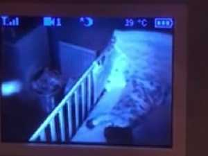 Terrifying scene in baby monitor