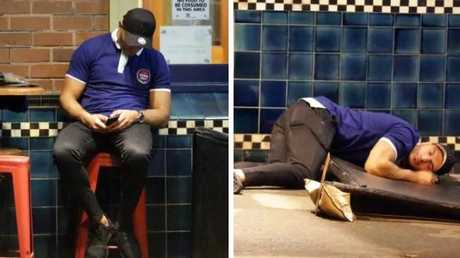 Partygoer starts to text then crashes to ground and falls asleep. Pictures: Christian Gilles