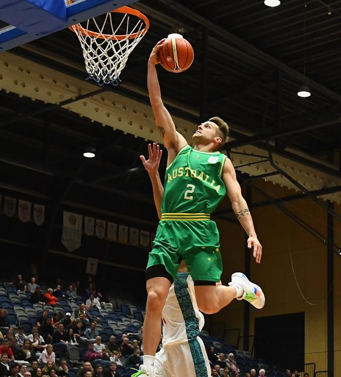 Nathan Sobey of the Boomers charges to the basket against Kazakhstan on Monday night. Picture: Getty Images