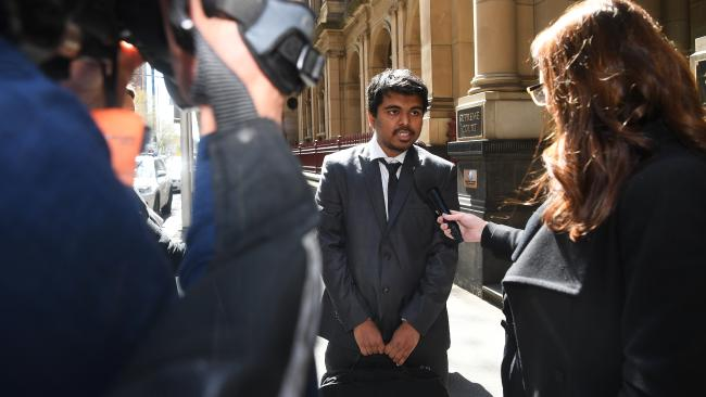 Chinmay Naik speaks to media outside court. Picture: AAP/James Ross