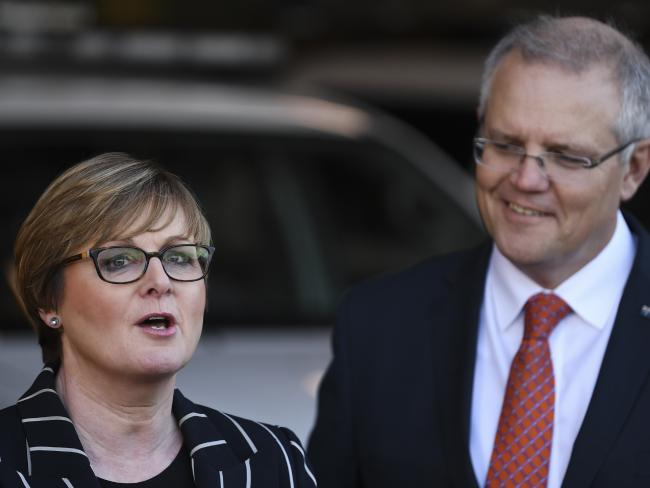 Prime Minister Scott Morrison (right) and Assistant Home Affairs Minister Senator Linda Reynolds. Picture: AAP
